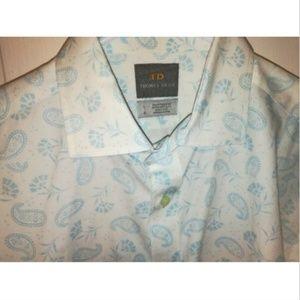 Thomas Dean Long Sleeve Paisley Button Up Shirt